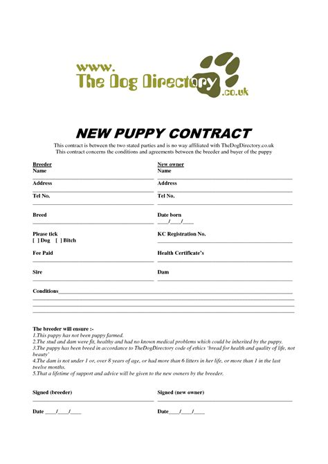 puppy contract 8 best images of free printable puppy purchase agreement printable puppy sale