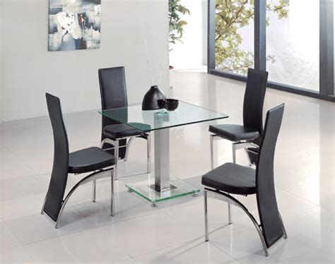 Square Ice Clear Glass Dining Table And 4 G501 Chairs 8485 Clear Glass Dining Table And 4 Chairs