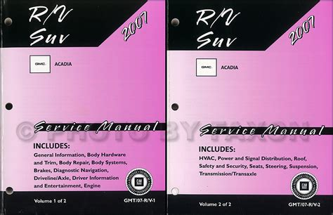 car repair manual download 2012 gmc acadia auto manual 2007 gmc acadia repair shop manual original 2 volume set