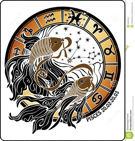 pisces and the zodiac sign horoscope circle vector stock