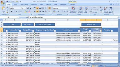 cara membuat database gudang dengan excel aplikasi sppd excel youtube