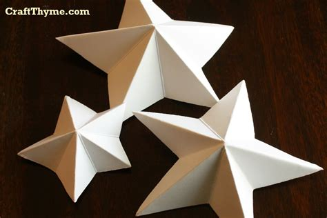 How To Make 3d Out Of Paper - paper how to make 5 pointed 3 d craft thyme
