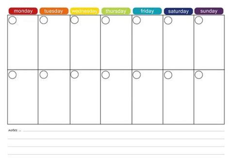 2 week calendar template template design