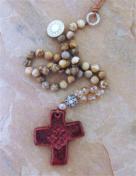 Handmade Cross Jewelry - handmade boho knotted cross necklace handmade jewelry