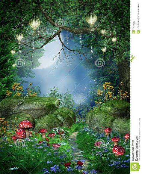 Home Interiors Catalog Online foresta incantata con le lanterne illustrazione di stock