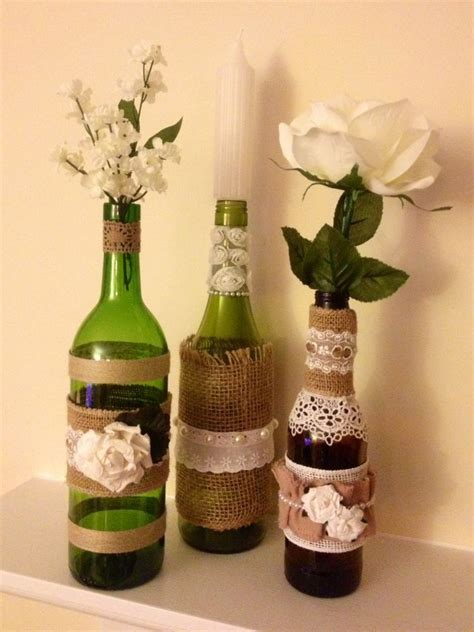 wine bottle centerpieces set of 3 upcycled wine bottle centerpieces wrapped in burlap lace w flower de ebay