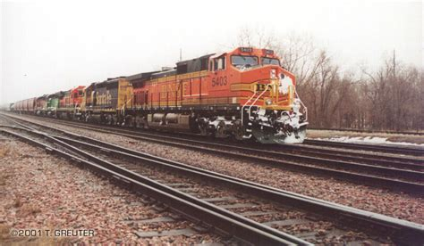 bnsf 5403 a dash 9 44cw sleet whips at the lead unit during one of the coldest and whitest