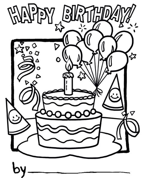 Happy Birthday Cake Coloring Page Happy Birthday Cake by Happy Birthday Cake Coloring Page
