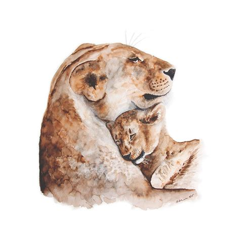 mom and baby lion watercolor print nursery art tiny