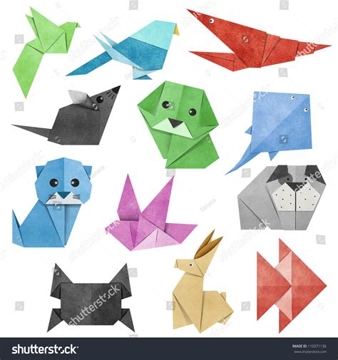 origami animal made from recycle paper stock photo
