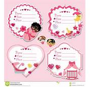 Label Set With Newborn Baby Girl And Shower Stock