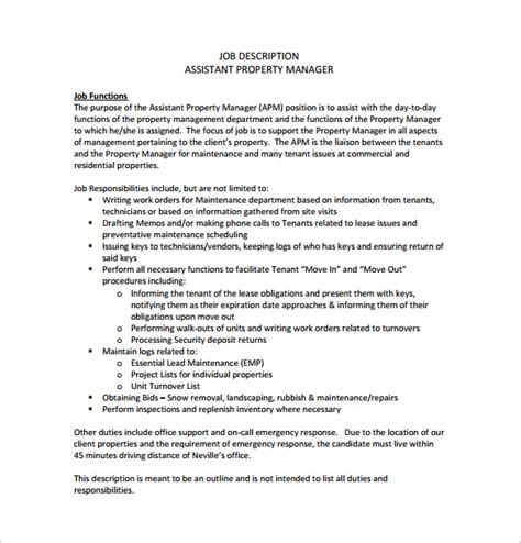 9 Property Manager Job Description Templates Free Sle Exle Pdf Format Download Manager Description Template