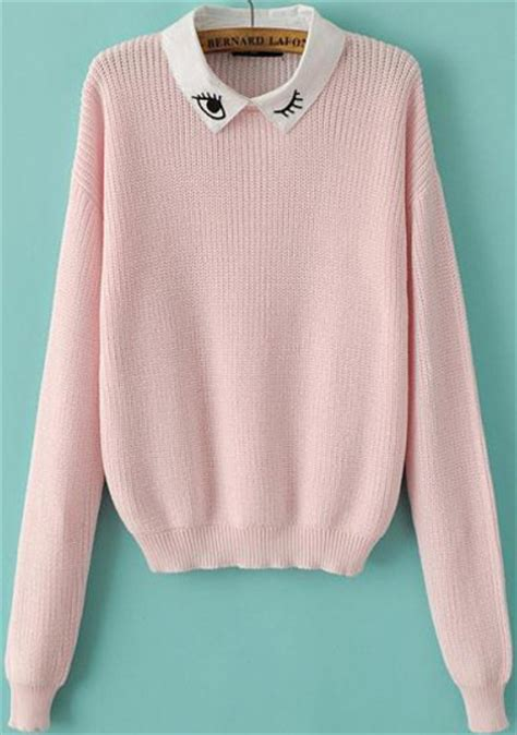 pink sweater pink sleeve eye embroidered knit sweater shein