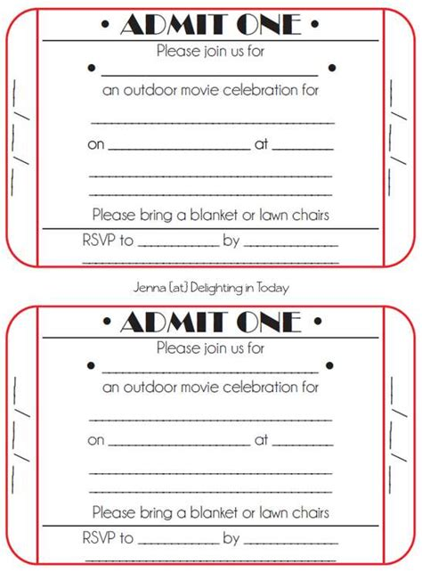 Blank Movie Ticket Invitation Template Image Ebookzdb Com Blank Ticket Invitation Template