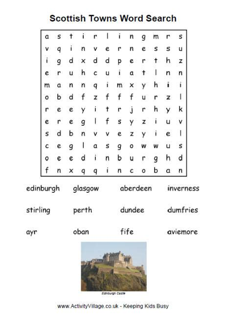 Scotland Search Scottish Towns Word Search For