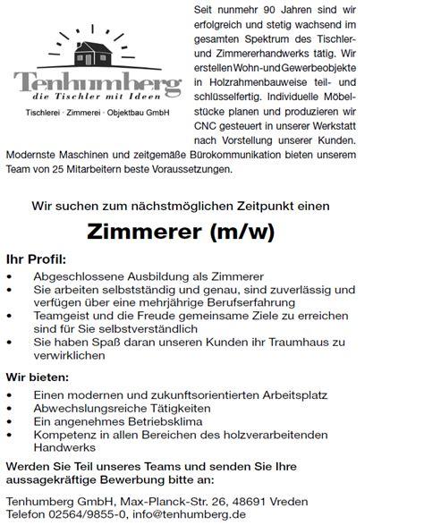 Bewerbung Deckblatt Zimmerer Stellenangebote Tenhumberg