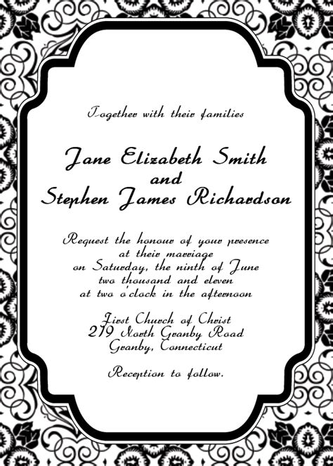 free printable photo wedding invitation templates black wedding invitation templates free