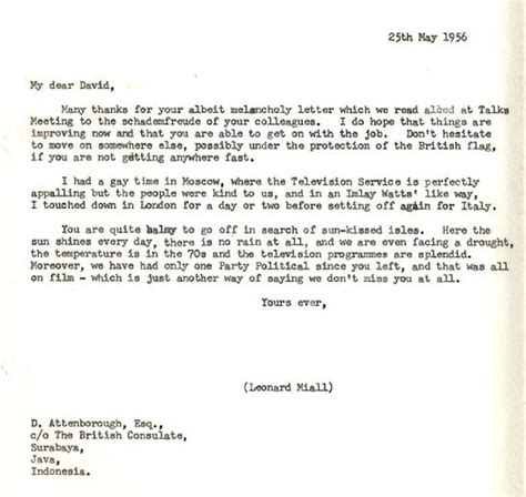 Thank You Letter Moving To Another Department Archive David Attenborough Zoo Quest For A A Letter To David Attenborough From