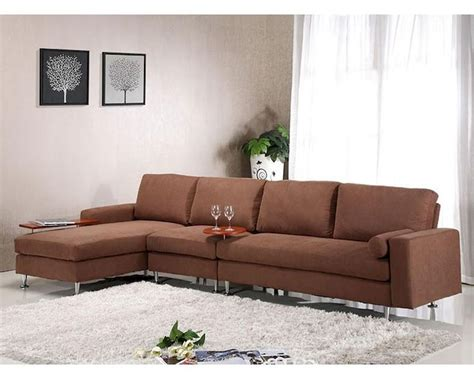 Sectional Sofa Brown Brown Fabric Sectional Sofa W Ottoman In Contemporary Style 44l6004