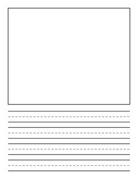 printable lined paper with drawing box lined paper with illustration box by kids first tpt