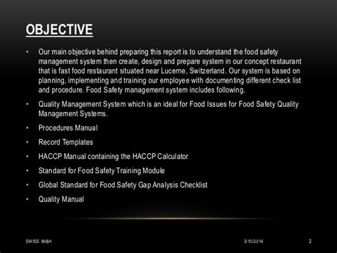 objectives of good restaurant layout food safety management system for fast food chain