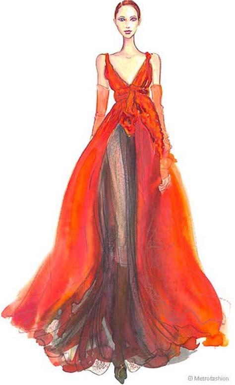fashion illustration of gowns designer dresses sketches