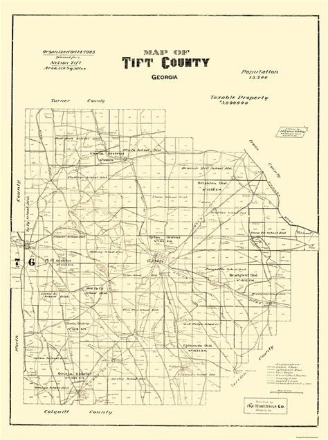 Tift County Property Records County Maps Tift County Ga Map By The Hudsins Co 1905