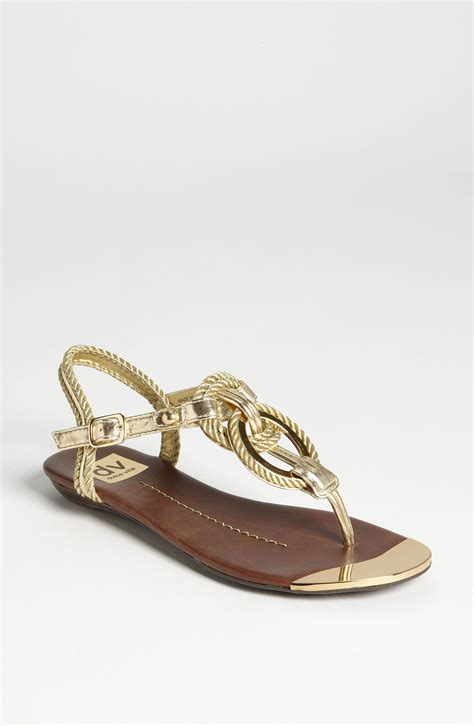 sandals dolce vita dv by dolce vita agnyss sandal in gold lyst