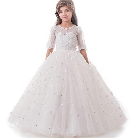 White Flower Dress Excellent Quality 2017 pretty princess high quality custom flower dress white tulle appliques