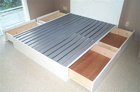 how to build a king size platform bed frame with drawers quick woodworking projects