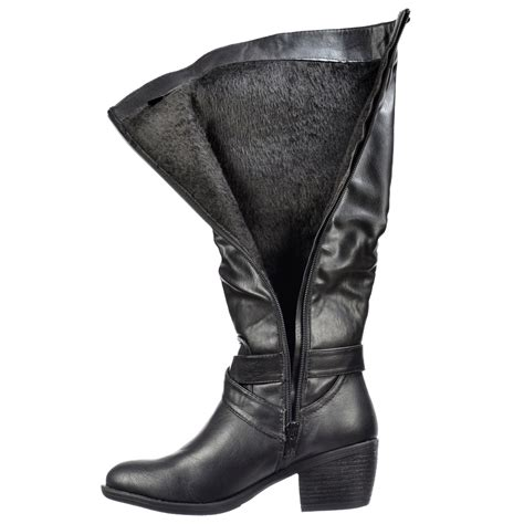 onlineshoe knee high biker boots with buckle and straps