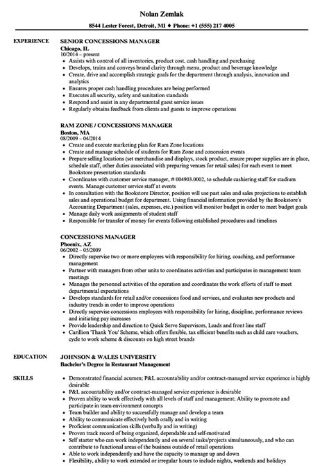 Concessions Manager Cover Letter by Concessions Manager Sle Resume Cancer Researcher Sle Resume