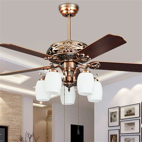 Fashion Vintage Ceiling Fan Lights European Style Fan Living Room Ceiling Fans With Lights