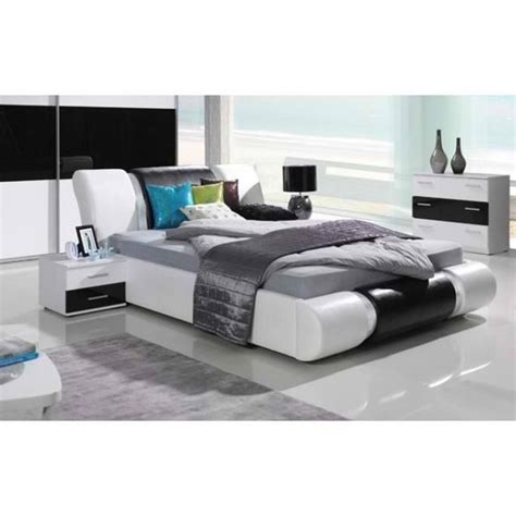 ensemble meubles design pour chambre 224 coucher blanc et noir laqu 233 lit 2 chevets