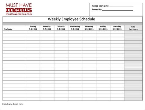 printable schedule for employees employee work schedule template 16 free word excel