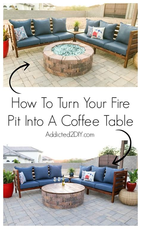 how to turn a coffee table into an ottoman how to turn your fire pit into a coffee table addicted 2 diy