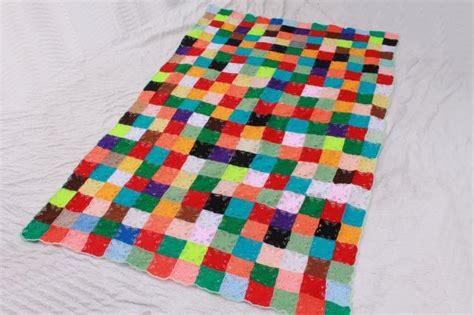 Patchwork Square Afghan - hippie vintage crochet afghan patchwork blocks cobweb