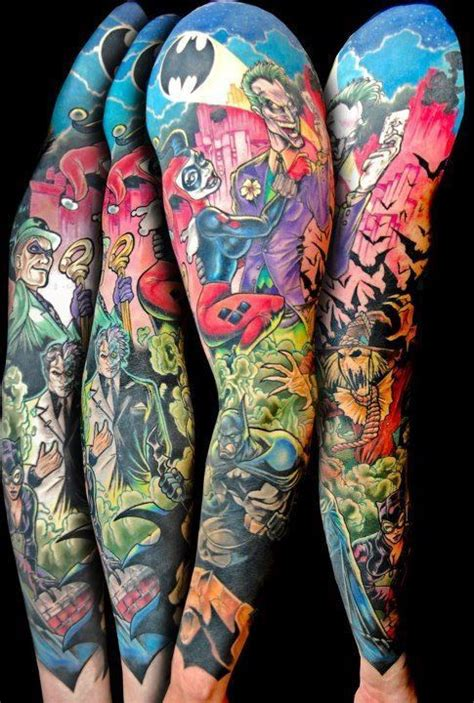 cartoon themed tattoo sleeve tatouages de geeks