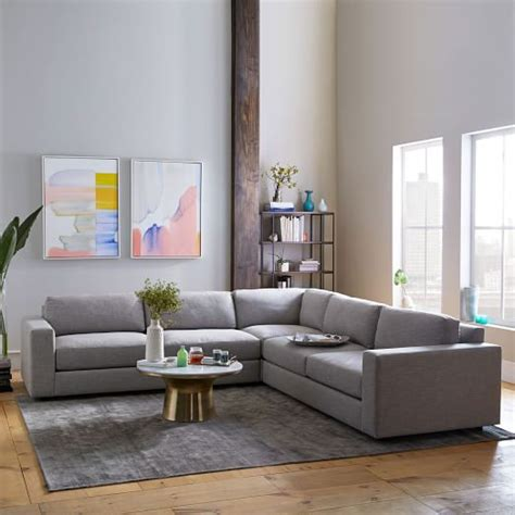 west elm urban sofa review urban 3 piece l shaped sectional heathered tweed west elm