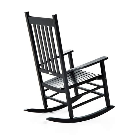Patio Rocking Chairs Wood Outsunny Wooden Outdoor Rocking Chair Black Aosom
