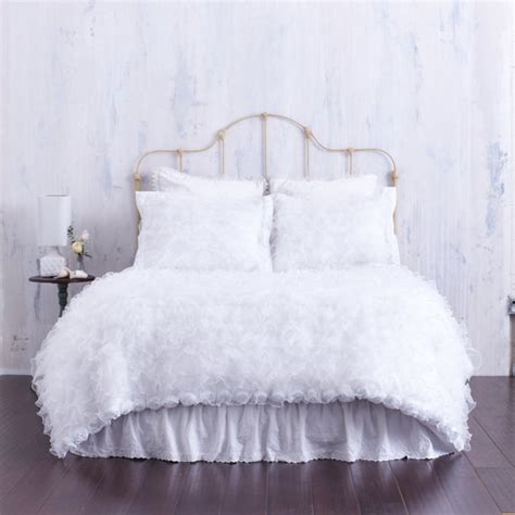 white fur comforter white ruffled chiffon bedding ruffled shabby by