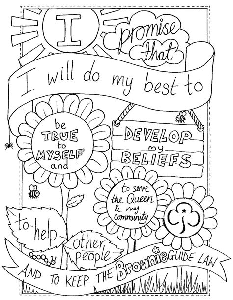Uk Brownie Promise Colouring Sheet Created By Emyb Emy Scout Brownie Coloring Pages