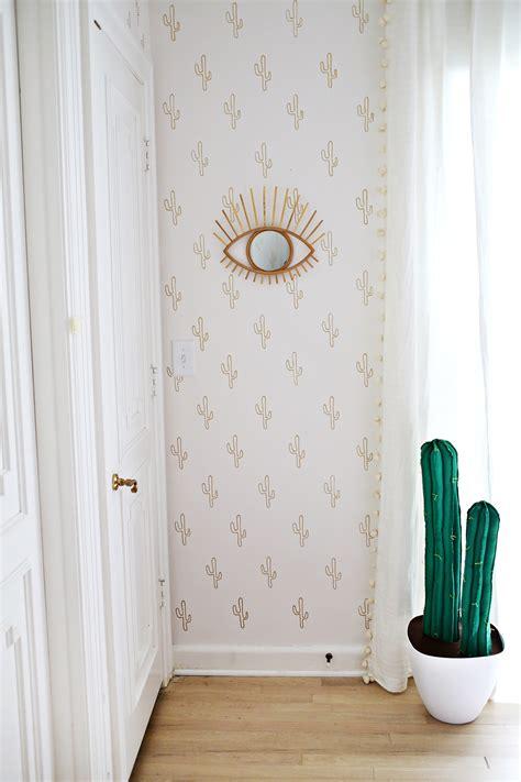 wallpaper for walls diy gold cactus wallpaper diy a beautiful mess