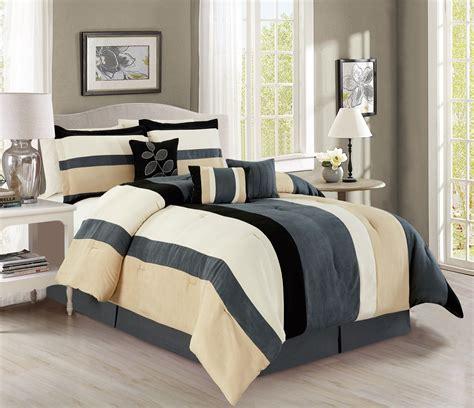 king size 7 comforter set ivory 7 stripe micro suede gray black ivory comforter set