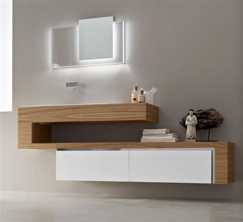 Formidable Amenagement Salle De Bain 3D #9: Meuble-salle-bains-bois-meuble-vasque-bois-blanc-miroir-led-figuine-bouddha.jpg