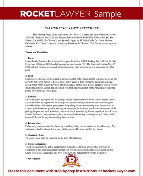 Parking Space Lease Agreement Parking Spot Lease Form Template Space Lease Agreement Template