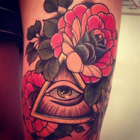 eye rose tattoo roses all seeing illuminati eye sleeve ideias
