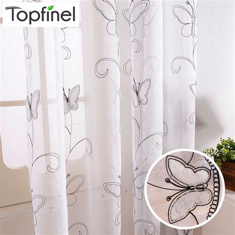 sheer butterfly curtains top finel cotton linen white ready made cheap embroidered