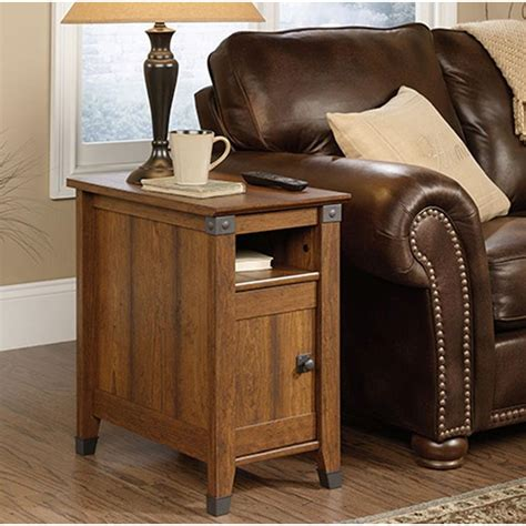 Storage Side Table Sauder Carson Forge Washington Cherry Storage Side Table 414675 The Home Depot