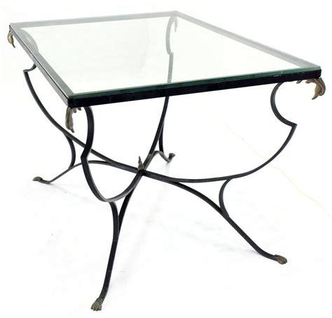 Figural Wrought Iron Brass Bird Tips Glass Top Outdoors Wrought Iron Glass Top Dining Table